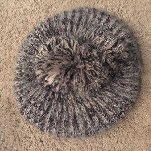 Icing Knit Beige/Gray & Black Slouchy Pom Beanie